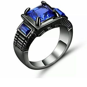 Jewelry - Size 6 Black and Blue Rhodium Plated Ring